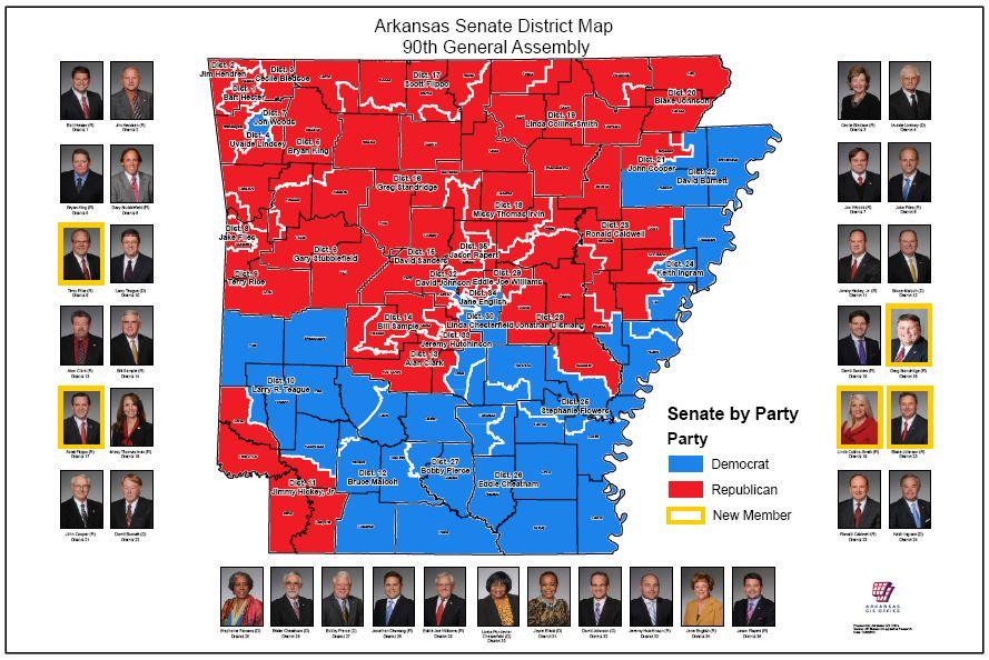 Senate district maps 91st general assembly 2017 arkansas gis office senate district maps 90th general assembly 2015 freerunsca Choice Image