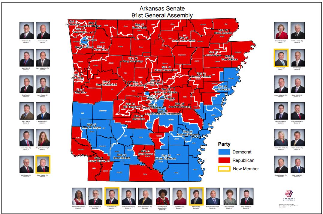 Us Senatorial District Map Senate District Maps (91st General Assembly: 2017) | Arkansas GIS